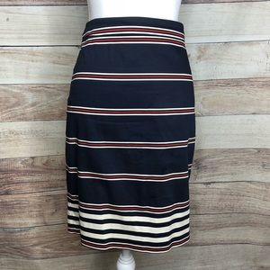 J. Crew The Pencil Skirt Navy Red Stripe Size 6